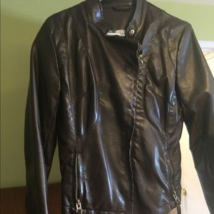 Faux leather fitted jacket, dark brown